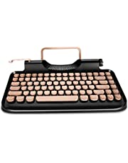 RYMEK Typewriter Style Mechanical Wired & Wireless Keyboard with Tablet Stand, Bluetooth Connection(Black)