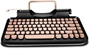 RYMEK Typewriter Style Mechanical Wired & Wireless Keyboard with Tablet Stand, Bluetooth Connection(Bl