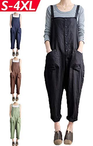 (Lncropo Women's Baggy Wide Leg Overalls Cotton Linen Jumpsuit Harem Pants Casual Rompers (Small, Style A-Black)