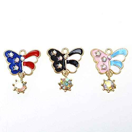 Enamel Butterfly Charm - Monrocco 30 Pcs Enamel Butterfly Charm Pendants with Crystal for Crafting Jewelry Making Necklace