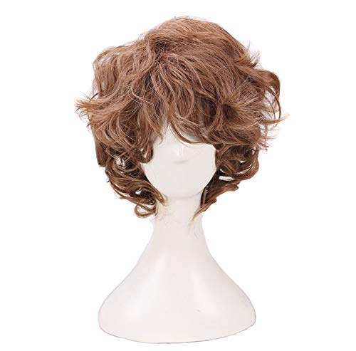 BoMing Man's Short Curly Brown Cosplay Wigs for Halloween -