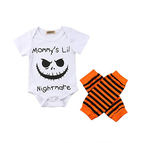 Funny Halloween Costumes For Girl (Newborn Baby Halloween Costumes,Boy Girl Funny Letter Print Bodysuit+Leg Warmers,Cotton Outfits Clothes Set)