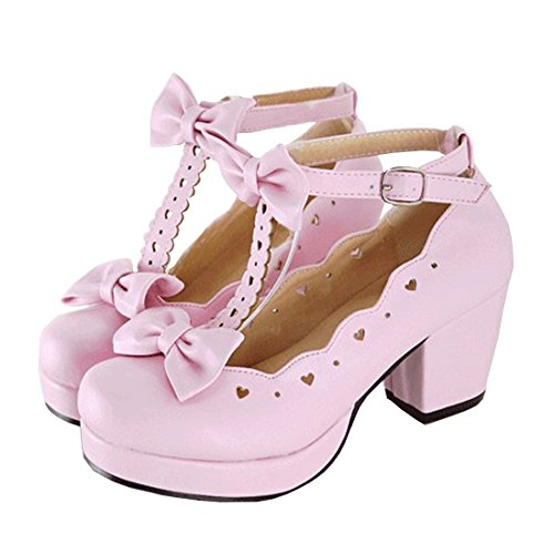 Partiss Damen Gothic High-top Boots Casual Schuhen Lolita Pumps Herbst Fruehling T-Strap Platform Pumps Shoes fuer Hochzeit Tanzenball Maskerade Pink