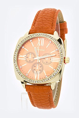 Chic Chelsea Grain Leather Strap Fashion Watch (Old Trifari Costume Jewelry)