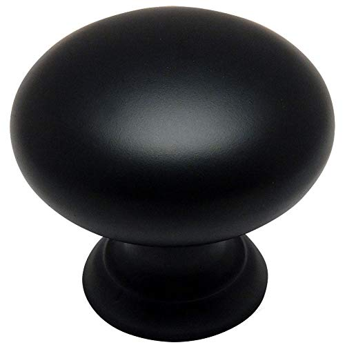 Hardware Black Kitchen Cabinet (25 Pack - Cosmas 4950FB Flat Black Cabinet Hardware Round Mushroom Knob - 1-1/4