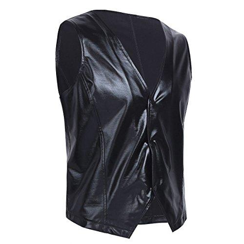 ACSUSS Men's PVC Leather Vest MC Hammer Rapper Pop 80s Rap Old School Costume Black Medium ()