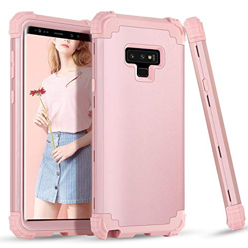 Slip Cover Anti Protective (BENTOBEN Case for Samsung Note 9, 3 in 1 Hybrid Hard PC Soft Rubber Heavy Duty Rugged Bumper Shockproof Anti Slip Three Layers Full Body Protective Phone Cover for Samsung Galaxy Note 9, Rose Gold)