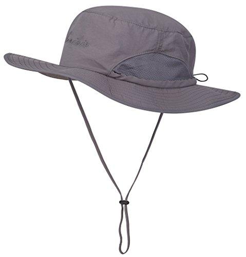 Lenikis Outdoor Fishing Mesh UV Protecting Bucket Sun Hat Black Grey