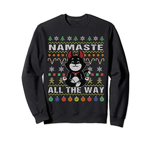 Black Cat Ugly Christmas Sweatshirt Namaste All The Way
