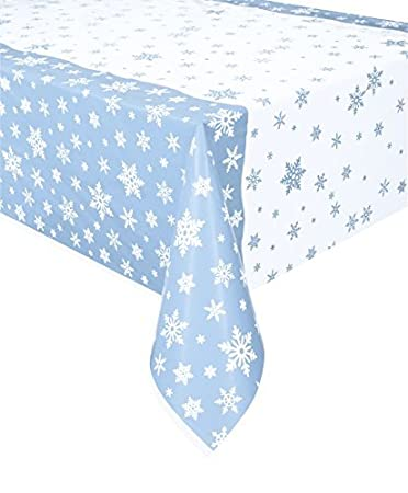 7Ft X 4.5Ft Plastic Snowflake Christmas Tablecloth