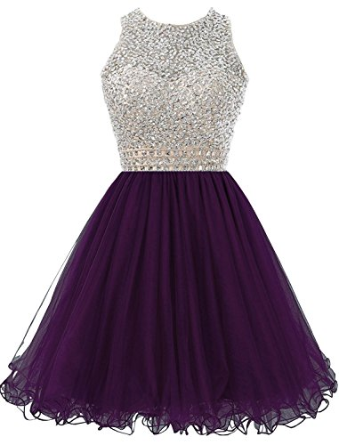 Cdress Homecoming Dresses Short Tulle Cocktail Dress Beading Junior Prom Gowns Grape US 20W -