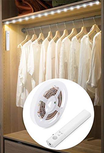 - LED Battery Operated Bed Light, Dual Mode Motion Night Light, Flexible Led Strip Battery Motion Sensor Closet Light Rope Light Kit for Bedroom Cabinet, Nature White 4000K