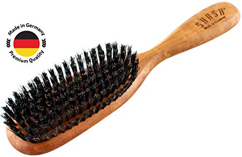 SHASH The Classic 100% Boar Bristle Made in Germany Hair Brush, Firm - Naturally Conditions Hair, Improves Texture - Exfoliates, Soothes and Stimulates the Scalp - Classic Design, Eco-Sourced Wood