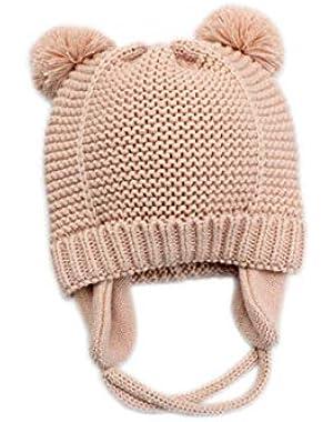 Baby Hat Knitted Wool Beanie Warm Fleece Earflap Pompom Cap for Infant Winter Outdoor