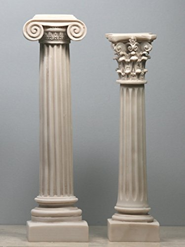 - Set 2 Greek Columns Ionic & Corinthian Style Pillar Pedestal Decor Sculpture