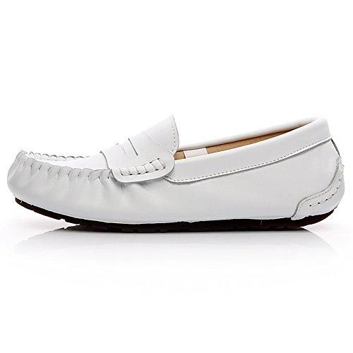 Rismart Heren Big Size Brede Teen Lederen Cent Loafers Comfort Zomer Bootschoenen Wit 9923 Us8.5