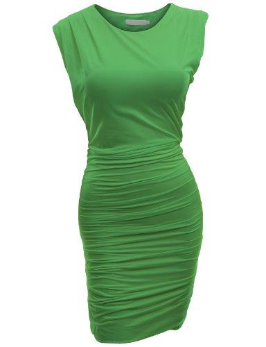Doublju Manches Coupe Slim Classique Sexy Robe Moulante Pour Les Femmes De Taille Plus Kwop046_green