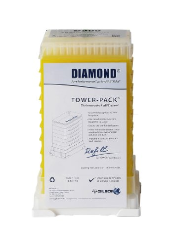 Gilson Pipetman F167103 Standard Diamond Autoclavable Pipette Tip, Tower Pack, 2-200µL Volume Range (Pack of 960) (200 Tower)