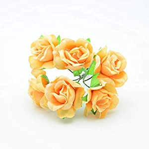 JIAHUADE 6Pcs Silk Roses Artificial Flowers Christmas Wreath Decor for Home Wedding DIY Garlands New Year Gifts Box Fake Floristics 99