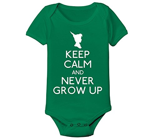 Keep Calm And Never Grow Up Cool Fairy Tale Fun - Baby One Piece - Kelly green - 6 Months (Baby Peter Pan compare prices)