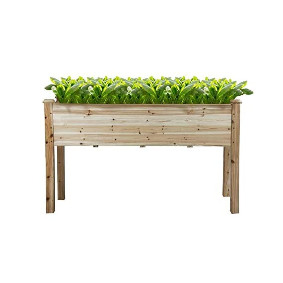 YAHEETECH Wooden Raised/Elevated Garden Bed Planter Box Kit for Vegetable/Flower/Herb Outdoor Gardening Natural Wood, 49 x 23.2 x 30.1in 5 Natural solid wood: This natural raised garden bed is made of non-paint, harmless 100% solid wood, which is known for its strength and dimensional stability as well as its natural resistance with a pleasing wooden smell. It is normal that there are wood knots on the surface. That's a natural phenomenon when the wood is growing. Single piece of side plate: Comparing to other planting beds that have several small pieces of wooden plates at the side, our planting raised bed has a piece of complete side plate at each side of the garden bed. This single-piece design makes the whole structure very stable, and the installation very easy. The side plates are fixed firmly without leakage of soil. Backache-friendly design: Given its 76.5cm/30.1'' height, people with backache/knee pain can easily manage the plants without bending down and taking the risk of pain. The thick solid wood boards are sanded well to prevent any undesired injury caused by wood splinters.