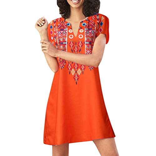 ONLY TOP Women Beach Dress Fashion Summer Bohemia Tassel Casual Mini Dress Evening Party T-Shirt Loose Dresses Orange ()