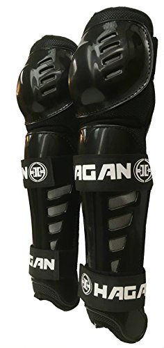 (Hagan H-5 PRO Shin Guards for DEK Street and Ball Hockey (Black, Intermediate (Adjusts 10'-12