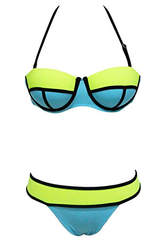 Bikini mujeres Toocool-Bañador de playa multicolor ferretto dos piezas nuevo DL-1737 base celeste