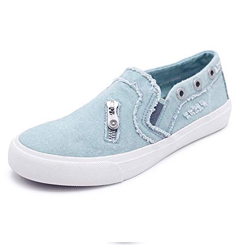 Susanny Fashion Sneakers Women Canvas Casual Loafers Slip on Distressed Boat Walking Shoes Blue 8.5 B (M) US ()