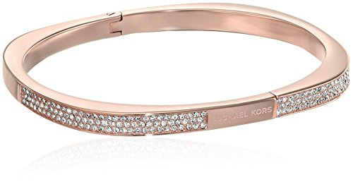 Michael Kors Pave Logo Cushion Hinged Rose Gold Tone Bangle Bracelet