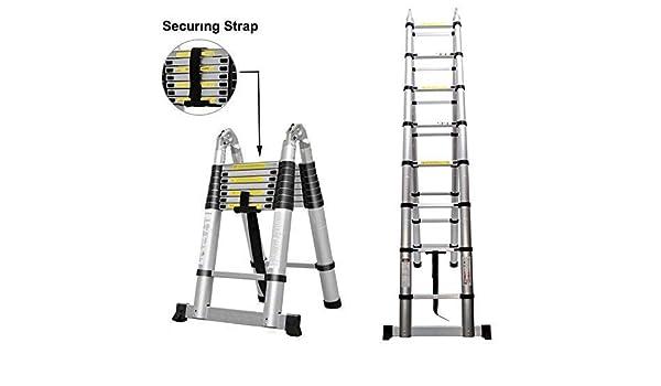 DIY escalera 5 m portátil extensible escalera multiusos tipo A marco con funda de goma antideslizante: Amazon.es: Bricolaje y herramientas