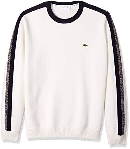 (Lacoste Men's Long Sleeve Made in France Wool Sweater, Flour/Navy Blue/RENAISSAN, XX-Large)