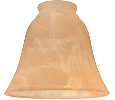 "Ellington 635AMA Alabaster Bell Shaped Ceiling Fan Glass Shade with 2 1/4"" Neck, Amber"
