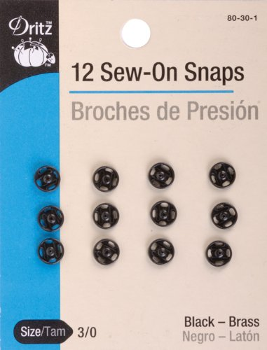 Zero Snap (Dritz(R Black Sew-On Snaps - Size 3/0 12/Pkg)