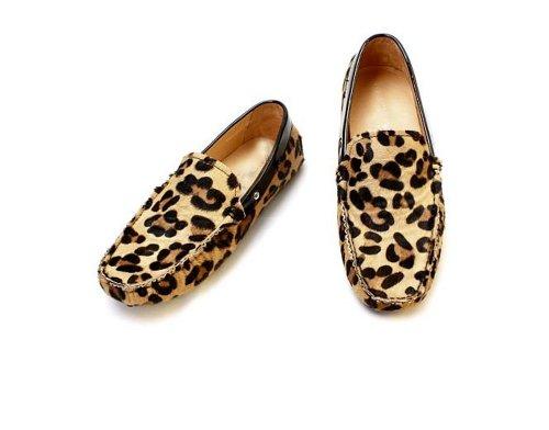 Fulinken Men's Leopard Haircalf Leather Slip Ons Loafers Driving Car Shoes (7 D(M) US, Leopard)