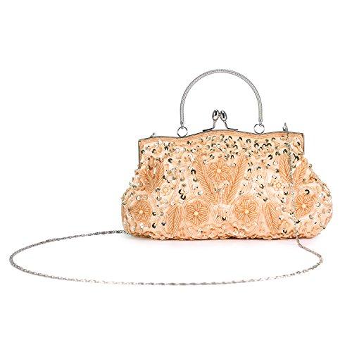Chichitop Beaded Sequin Design Flower Evening Purse Large Clutch Bag Peach -