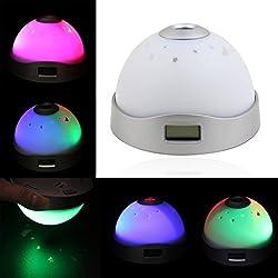 LED Color-change Dream Projection Clock / Magic Moon Star Projector / Nightlight Clock / Alarm Clock