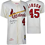 Bob Gibson St. Louis Cardinals Autographed Mitchell and Ness 1964 White Authentic Jersey with HOF 81 Inscription - Fanatics Authentic Certified