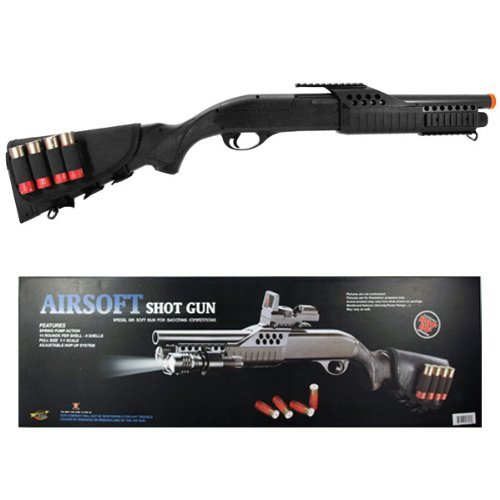 cyma airsoft shotgun pump w/ shells solid stock - m180d1(Airsoft Gun) (Shotgun Shells Real)