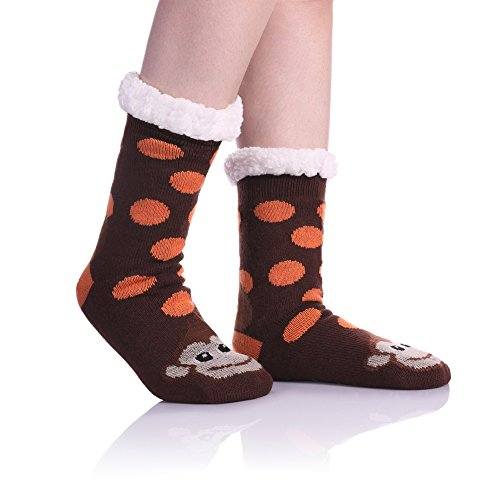 Womens Sherpa Winter Fleece Lining Knit Animal Socks Non Slip Warm Fuzzy Cozy Slipper Socks Monkey