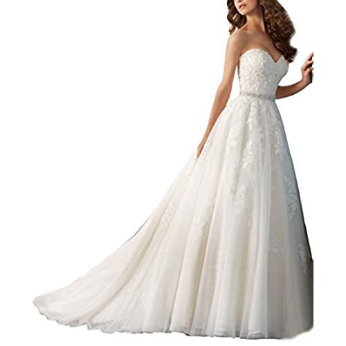 Nicefashion Sweetheart Beaded Lace A Line Wedding Dress With Detachable Bowknot Plus Size White US20W