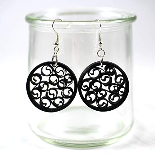 (Black Earrings Dangle Round Filigree Handmade Jewelry 1st Anniversary Gift Upcycled Paper Quilling)