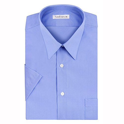 Van Heusen Men's Short Sleeve Poplin Solid Point Collar Dress Shirt, Blue Mist, 18'' Neck by Van Heusen