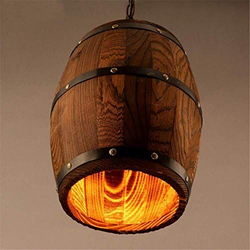 Xinqing Chandelier-Vintage Wooden Barrel Chandelier Creative Wooden Wine Barrel Lamps Personalized Cafe Bar Lights D260mm (10.2in) x 330mm (13.1in) Worth Having (Chandelier Wine Outdoor Barrel)