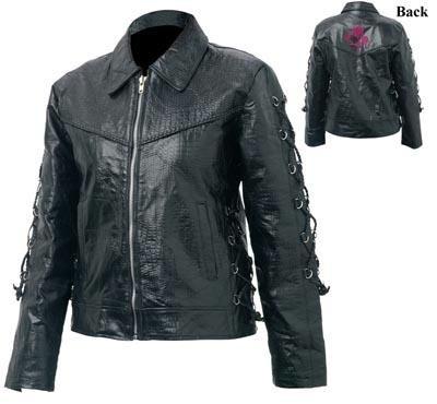 Giovanni Navarre Ladies' Hand-Sewn Pebble Grain Genuine Buffalo Leather Jacket (Small)