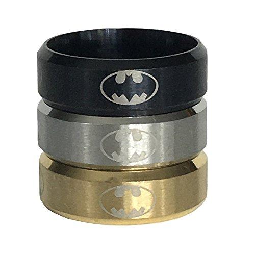 2 Pack Stainless Steel Batman Ring (11mm, Black & Gold)
