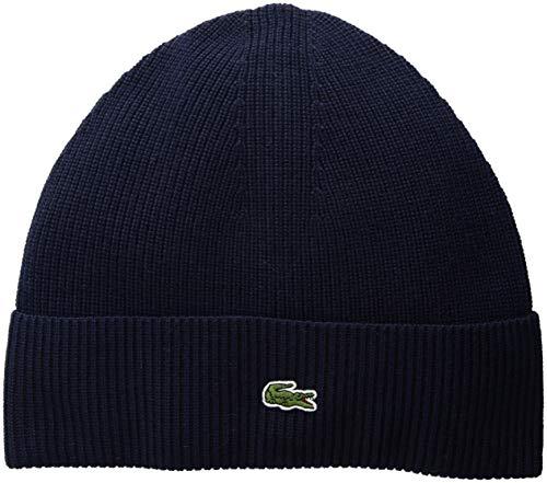 Lacoste Men's Solid Half Cardigan Rib Wool Beanie, Navy Blue, One - Lacoste Hats Beanie