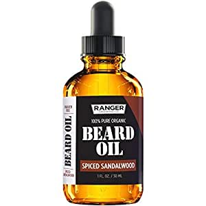 Spiced Sandalwood Beard Oil & Leave In er, pure Pure Natural Organic for Groomed Beards, Mustaches, and Moisturized Skin 1 oz by Ranger Grooming Co by Leven Rose
