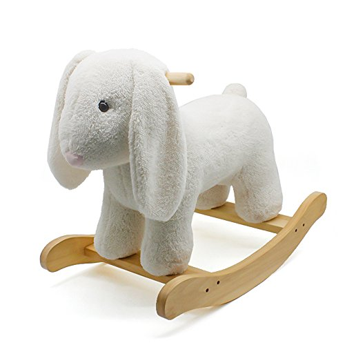 london-kate Deluxe Rocking Horse PLUSH ANIMAL BUNNY ROCKER Toy, Rocking Chair Toy/Wooden and Plush Rocking Horse/Rocker/Animal Ride for Boys & Girls