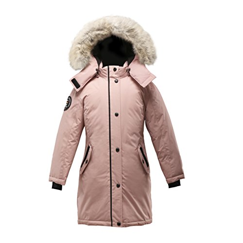 Triple F.A.T. Goose Alistair Girls Down Jacket Parka with Real Coyote Fur (7, Pink) by Triple F.A.T. Goose